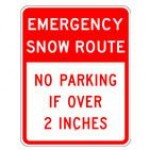 Traffic Sign EMERGENCY SNOW ROUTE NO PARKING IF OVER 2 INCHES